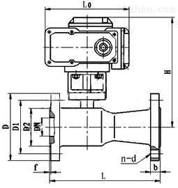 Q41M、Q41F电动高温球阀PN16外形尺寸图