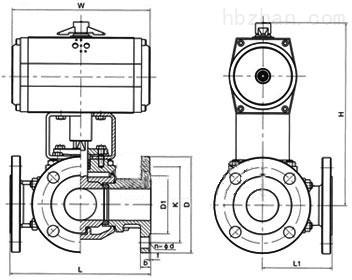 Q641F-16C型气动三通法兰铸钢球阀外形尺寸图