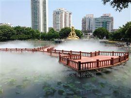梅州水景人工湖造雾