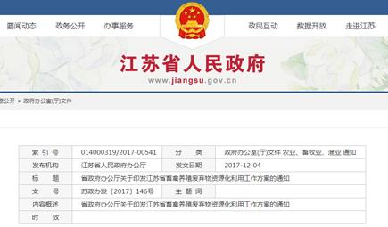《江苏省畜禽养殖废弃物资源化利用工作方案》