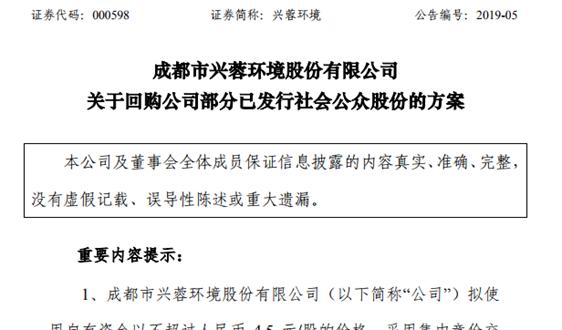 兴蓉环境:拟使用不超过4.5亿元回购公司股份